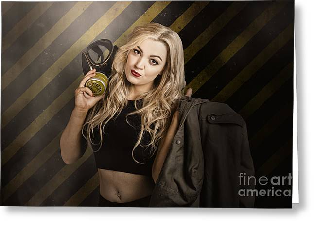 Gas Mask Pinup Girl In Nuclear Danger Zone Greeting Card by Jorgo Photography - Wall Art Gallery