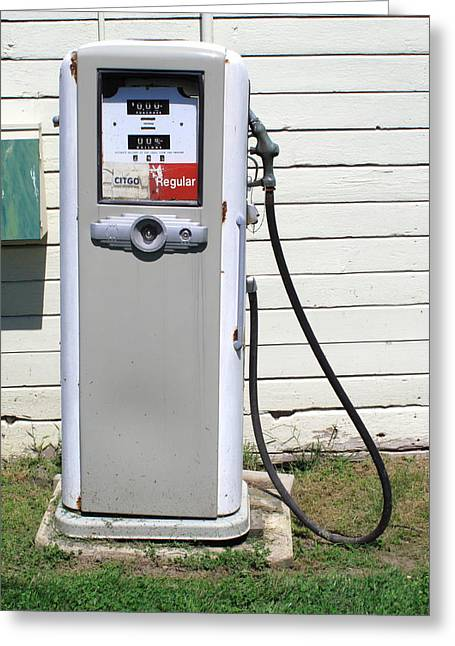 Outbuildings Greeting Cards - Gas Pump Greeting Card by Frank Romeo