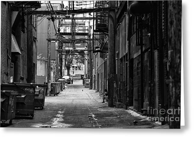 Skid Row Greeting Cards - Sitting in the Gastown Alley Greeting Card by John Rizzuto