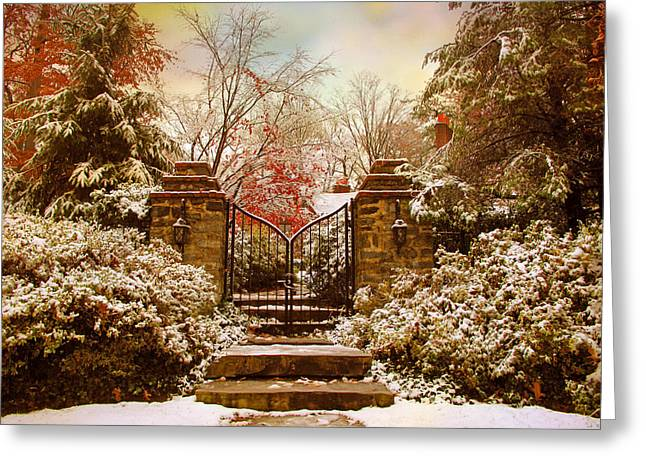 Winter Gates Greeting Card by Jessica Jenney