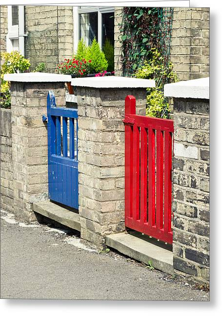 Painted Garden Gate Greeting Cards - Gates Greeting Card by Tom Gowanlock