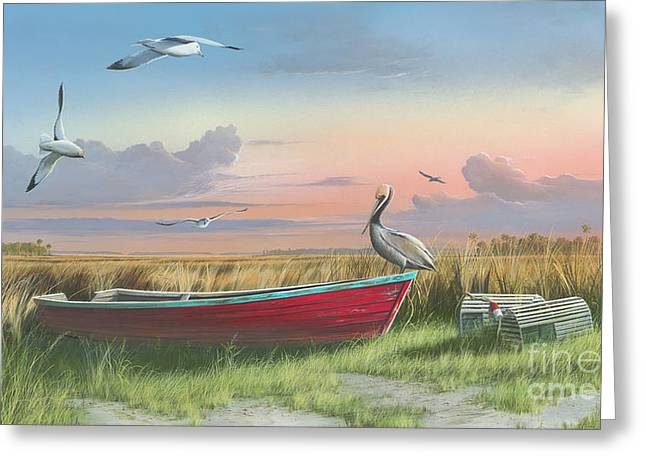 Low Country Watercolor Greeting Cards - Gathering at Sunrise Greeting Card by Mike Brown
