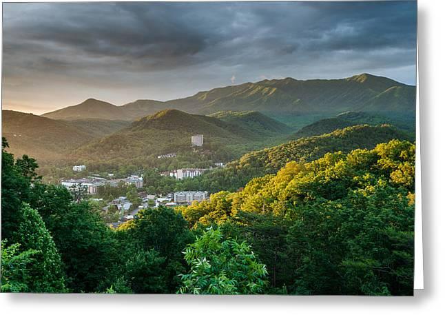 Gatlinburg Tennessee Photographs Greeting Cards - Gatlinburg Tennessee Great Smoky Mountain Sunrise Greeting Card by Mark VanDyke