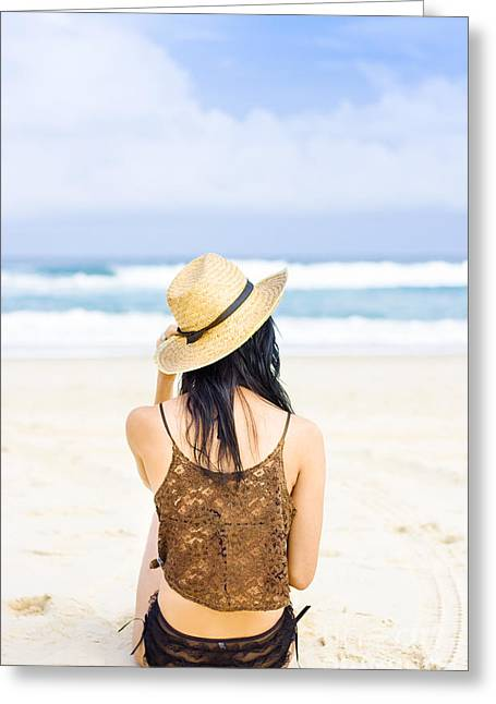 Sleeveless Greeting Cards - Gazing Out At The Ocean Greeting Card by Ryan Jorgensen