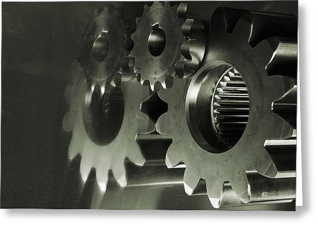 Gears Wheel Greeting Cards - Gears And Cogwheels Greeting Card by Christian Lagereek
