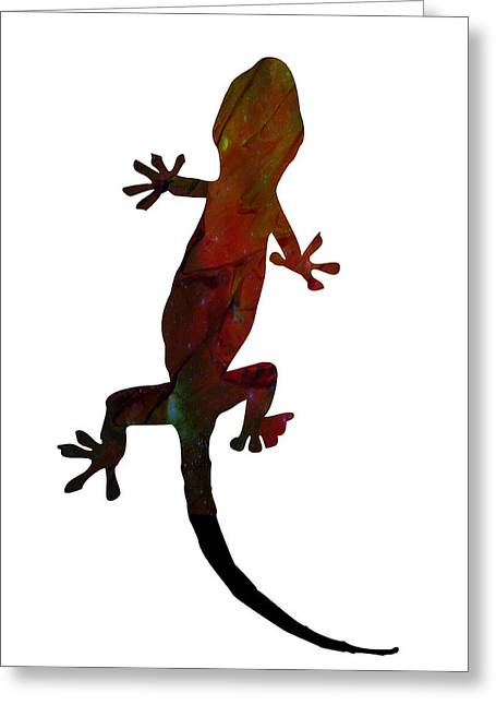 Nature Scene Mixed Media Greeting Cards - Gecko Greeting Card by Celestial Images