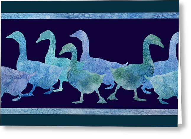 Geese Batik Greeting Card by Jenny Armitage