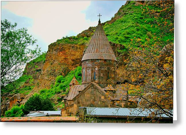 Historic Village Cross Greeting Cards - Gegard Monastery - Armenia Greeting Card by Mountain Dreams