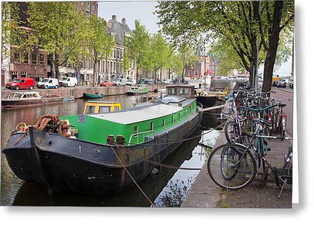 Old Home Place Greeting Cards - Geldersekade Canal in Amsterdam Greeting Card by Artur Bogacki