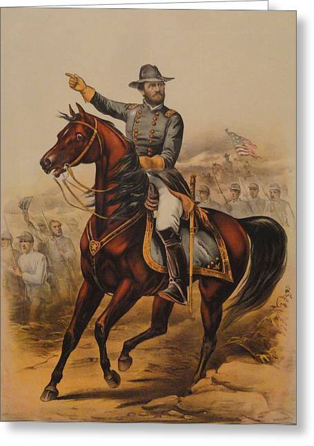 Western Tie Greeting Cards - General Ulysses S. Grant Greeting Card by Currier and Ives