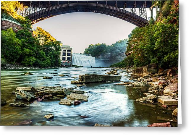 High Falls Gorge Greeting Cards - Genesee River Greeting Card by Tim Buisman