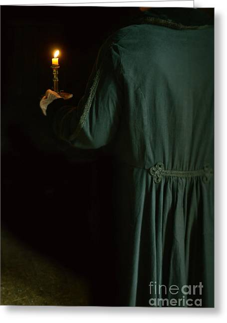 Recently Sold -  - Candle Stand Greeting Cards - Gentleman in 18th Century Clothing with a Candle Greeting Card by Jill Battaglia