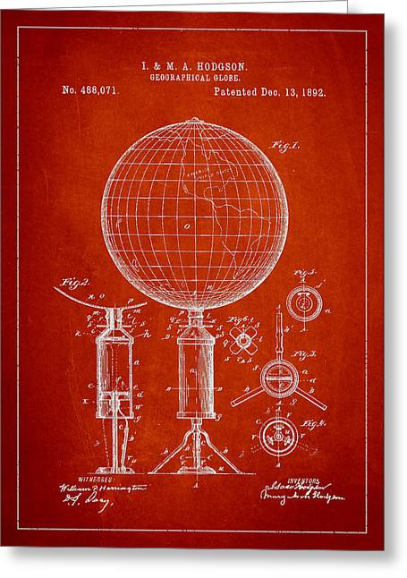 Continent Digital Greeting Cards - Geographical Globe Patent Drawing From 1892 Greeting Card by Aged Pixel