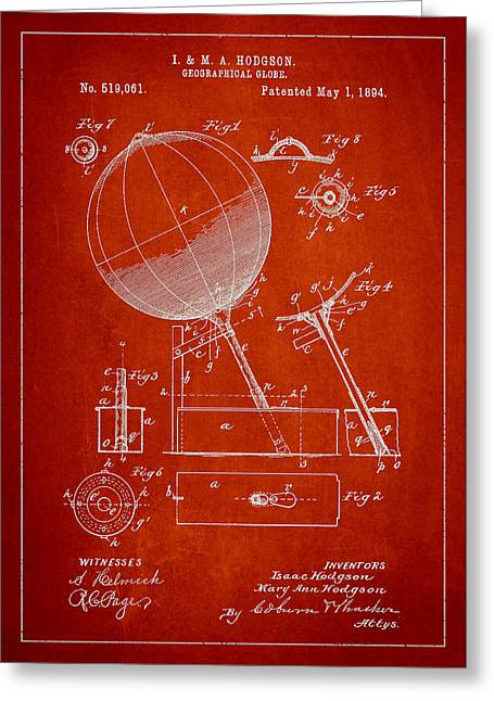 Continent Greeting Cards - Geographical Globe Patent Drawing From 1894 Greeting Card by Aged Pixel