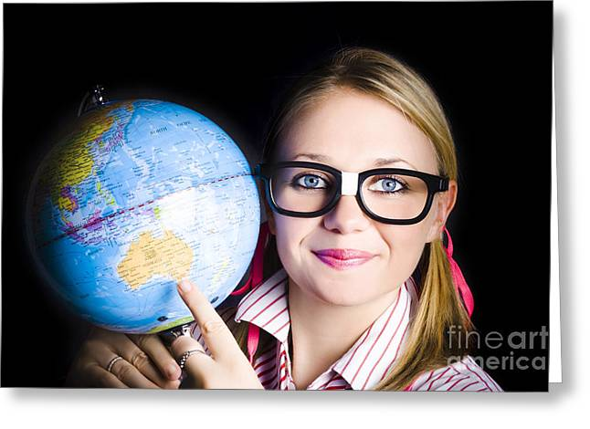 Geographical Locations Greeting Cards - Geography school student learning about world Greeting Card by Ryan Jorgensen
