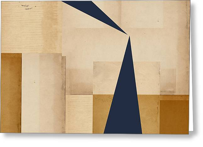Beige Abstract Greeting Cards - Geometry Indigo Number 5 Greeting Card by Carol Leigh