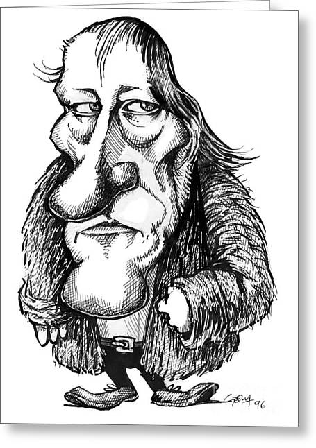 Human Intellect Greeting Cards - Georg Hegel, Caricature Greeting Card by Gary Brown