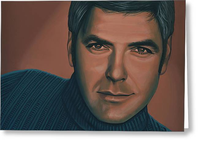 Eleven Greeting Cards - George Clooney Greeting Card by Paul  Meijering