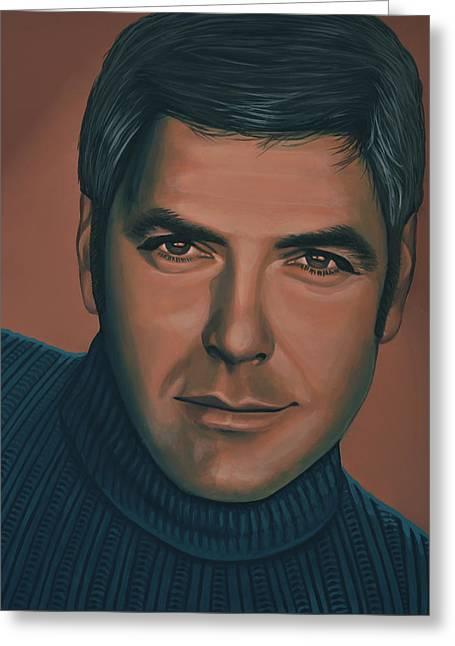George Clooney Painting Greeting Card by Paul Meijering