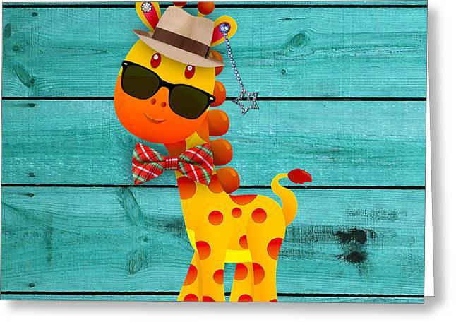 Baby Room Greeting Cards - Georgie Giraffe Collection Greeting Card by Marvin Blaine