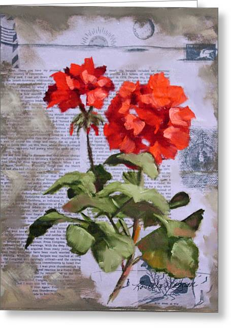 Red Geraniums Mixed Media Greeting Cards - Geranium Beauty  Greeting Card by Rosie Morgan