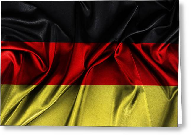 Best Sellers -  - Textile Photographs Greeting Cards - German flag Greeting Card by Les Cunliffe