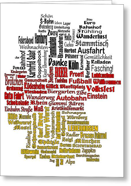 Best Sellers -  - Deutschland Greeting Cards - Germany Map Greeting Card by Shirley Radabaugh