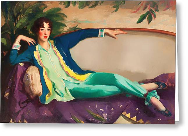 Chaise-lounge Greeting Cards - Gertrude Vanderbilt Whitney Greeting Card by Robert Henri