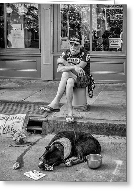 Forgiveness Greeting Cards - Gettin By in New Orleans BW Greeting Card by Steve Harrington