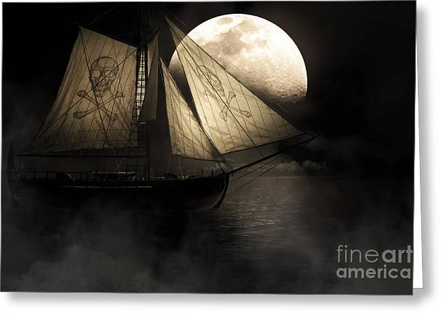 Pirate Ship Greeting Cards - Ghost Ship Greeting Card by Ryan Jorgensen