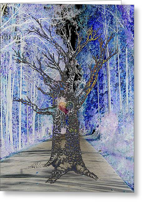 Chakra Rainbow Digital Art Greeting Cards - Ghost Tree with Heart Greeting Card by Tanya Hamell