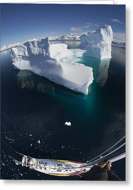 Blue Sailboats Greeting Cards - Giant Iceberg  From The Crows Nest Greeting Card by Matthias  Breiter