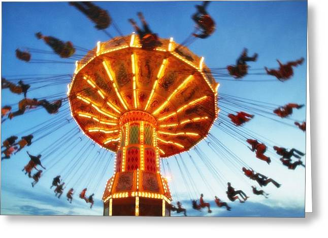 Amusements Greeting Cards - Giant Swing At An Amusement Park Greeting Card by Don Hammond