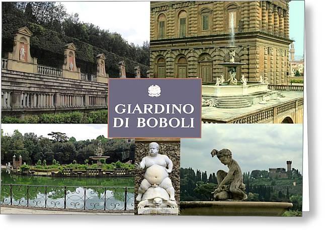 Italian Wine Greeting Cards - Giardino Di Boboli Greeting Card by Ellen Henneke