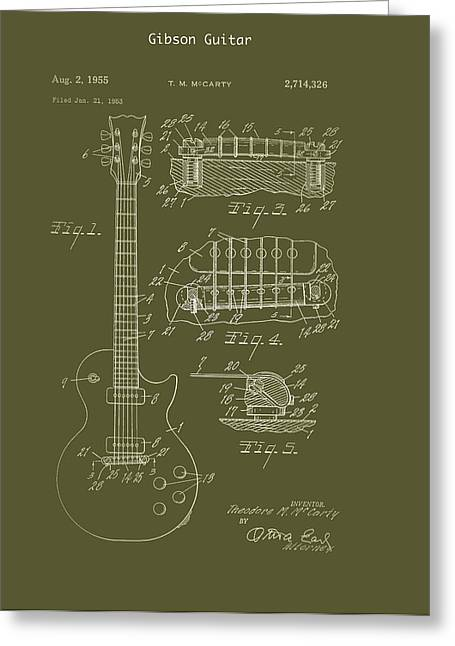 1955 Drawings Greeting Cards - Gibson Guitar Patent 1955 Greeting Card by Mountain Dreams