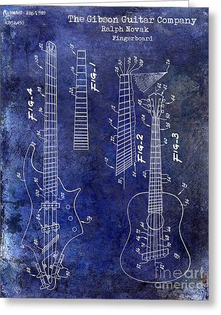 Vintage Guitars Greeting Cards - Gibson Guitar Patent Drawing Blue Greeting Card by Jon Neidert