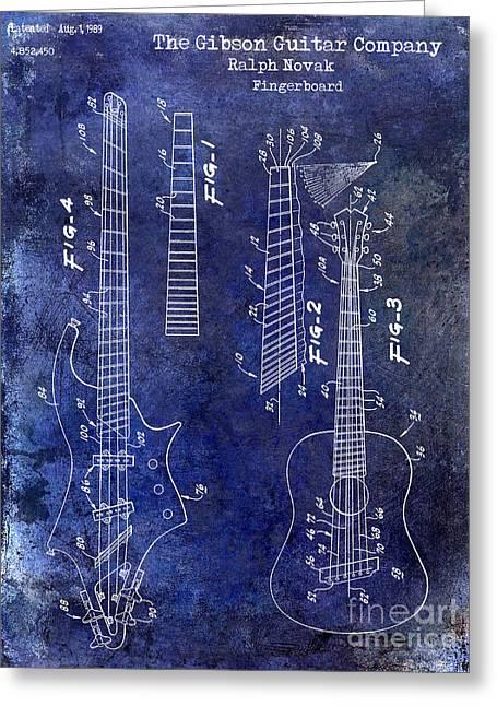 Gibson Guitar Patent Drawing Blue Greeting Card by Jon Neidert