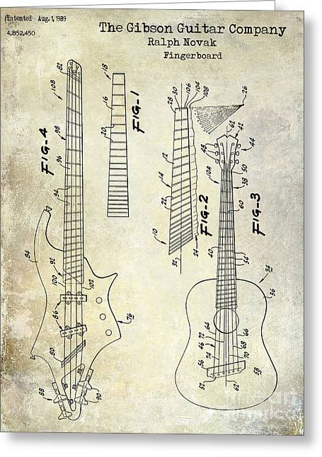 Vintage Guitars Greeting Cards - Gibson Guitar Patent Drawing Greeting Card by Jon Neidert
