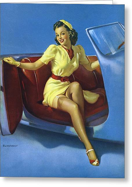 Auto-portrait Greeting Cards - Gil Elvgrens Pin-Up Girl Greeting Card by Gil Elvgren