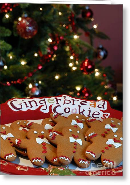 Bokeh Greeting Cards - Gingerbread Cookies on Platter Greeting Card by Amy Cicconi