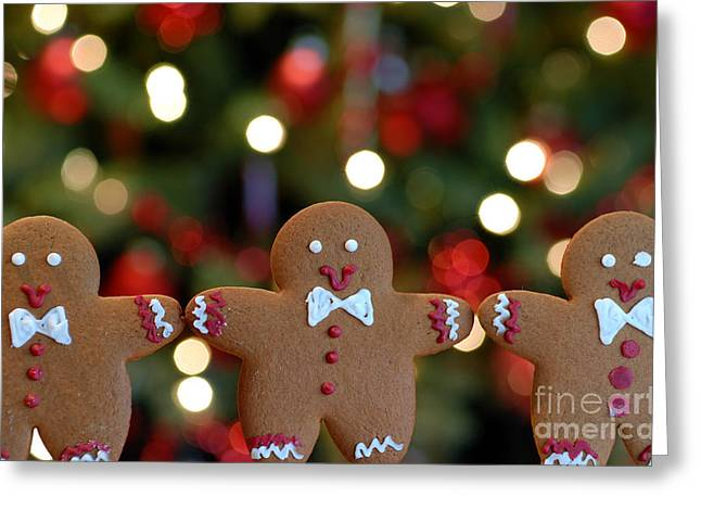 Bow Greeting Cards - Gingerbread Men in a Line Greeting Card by Amy Cicconi