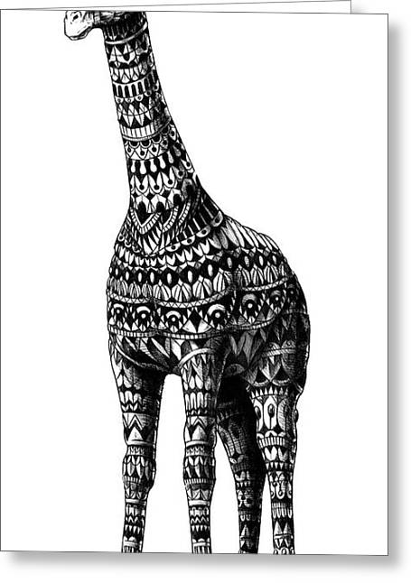 African American Drawings Greeting Cards - Ornate Giraffe Greeting Card by BioWorkZ