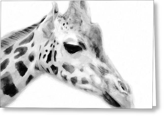 Giraffe On White Background Greeting Card by Toppart Sweden