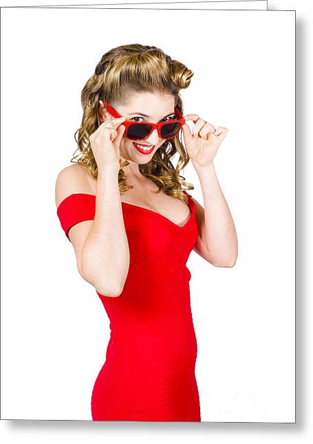 Busty Greeting Cards - Girl adjusting glasses to flashback a 1950s look Greeting Card by Ryan Jorgensen