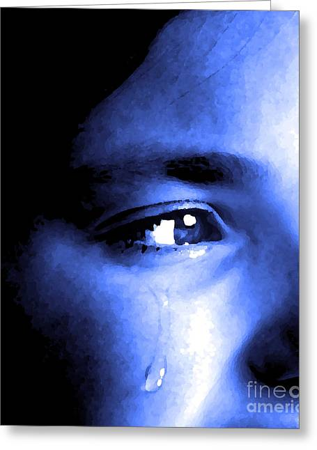 Desperate Mixed Media Greeting Cards - Girl Crying with Tear Greeting Card by Lane Erickson