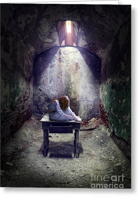 Run Down Greeting Cards - Girl in Abandoned Room Greeting Card by Jill Battaglia