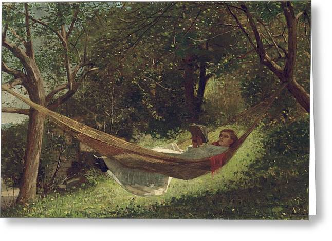 Girl In The Hammock Greeting Cards - Girl in the Hammock Greeting Card by Celestial Images