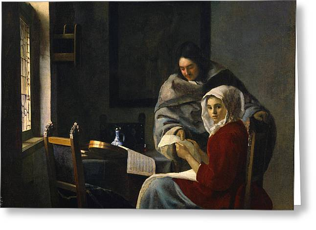 Jan Vermeer Greeting Cards - Girl Interrupted at Her Music Greeting Card by Johannes Vermeer