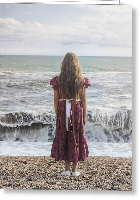 Waiting Girl Greeting Cards - Girl On Beach Greeting Card by Joana Kruse