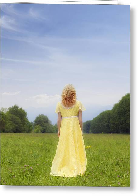 Vernal Greeting Cards - Girl On Meadow Greeting Card by Joana Kruse